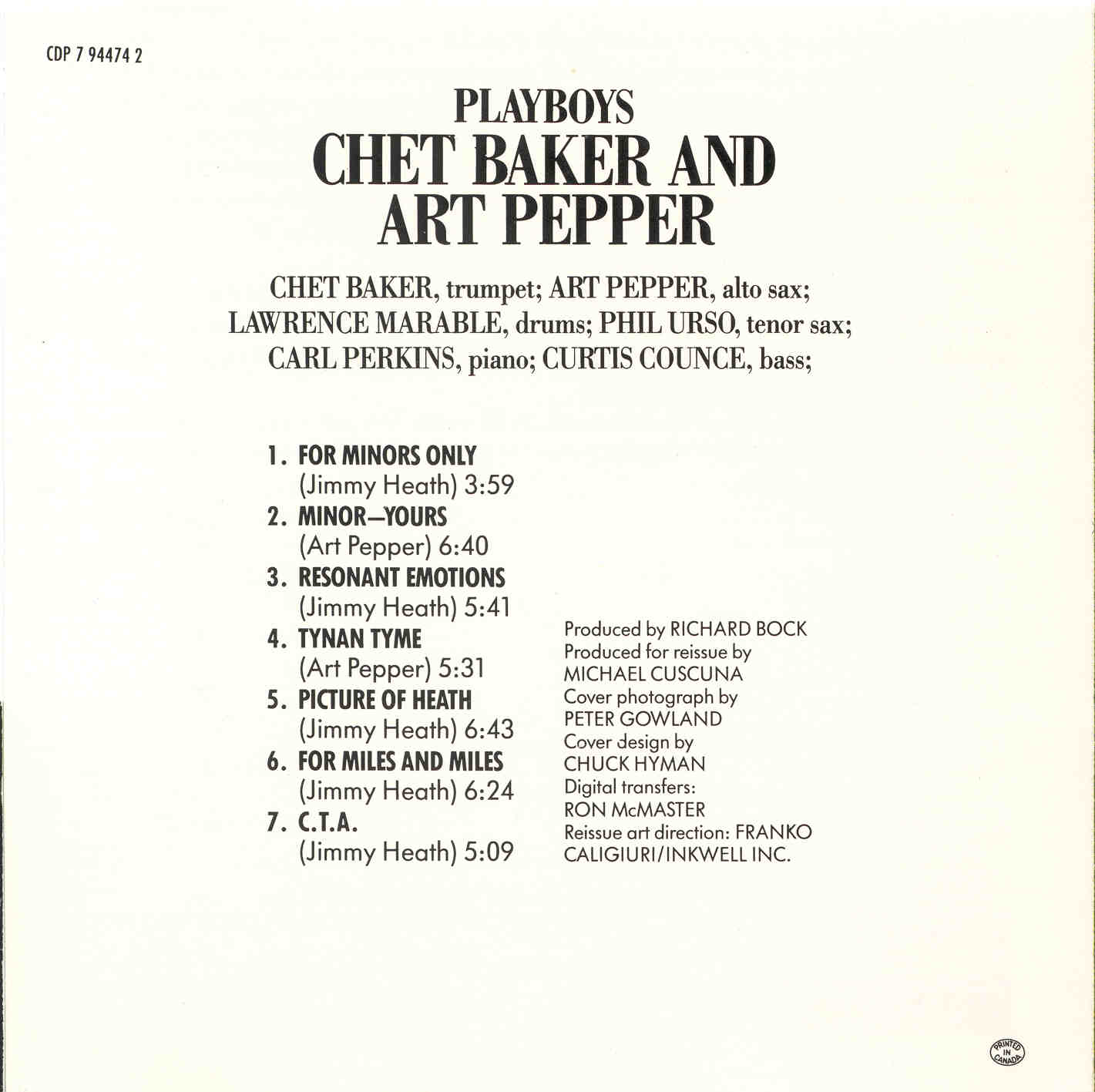 Art Pepper Discography Playboys